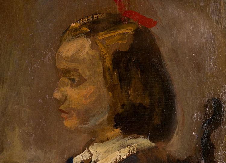 Pittura e arredi Bambina di profilo